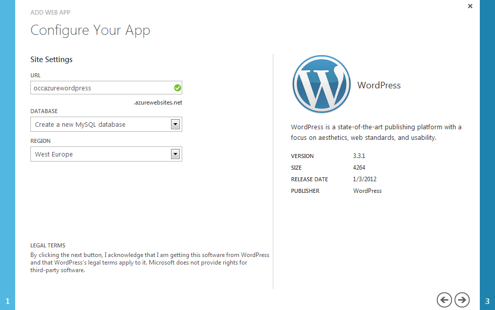 Configure the initial website settings