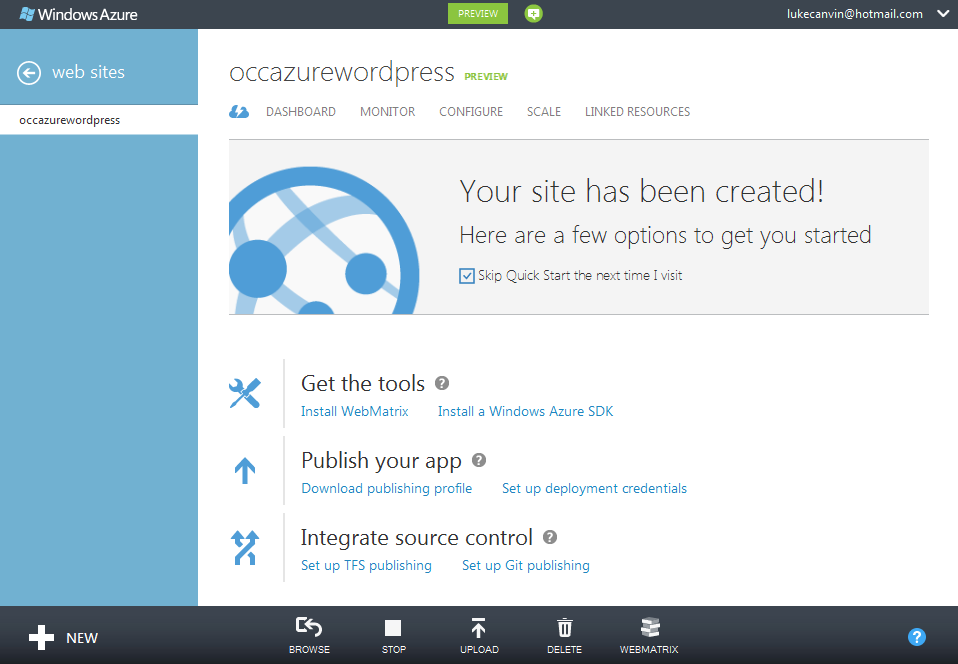 Azure website startup screen