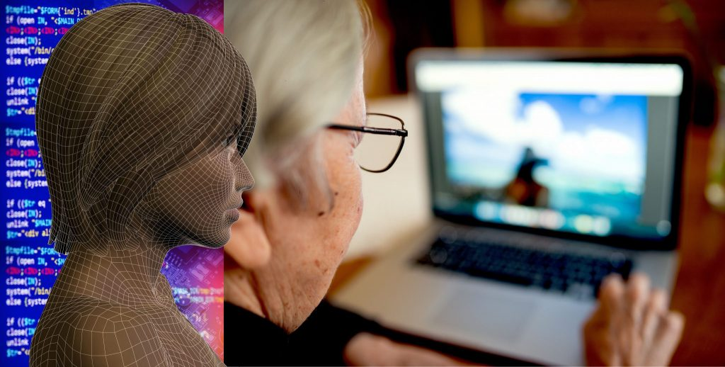 AI image over older person at a computer