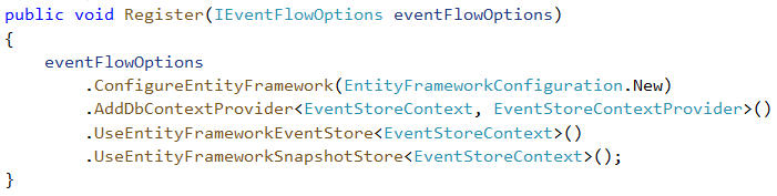 Register method with eventFlowOptions configuration using EntityFramework configuration menthods