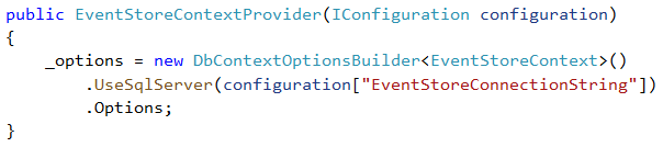 EventStoreContextProvider constructor with DbContextOptionsBuilder UseSqlServer configuration