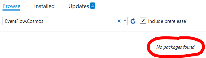 NuGet package manager showing no packages found for EventFlow.Cosmos