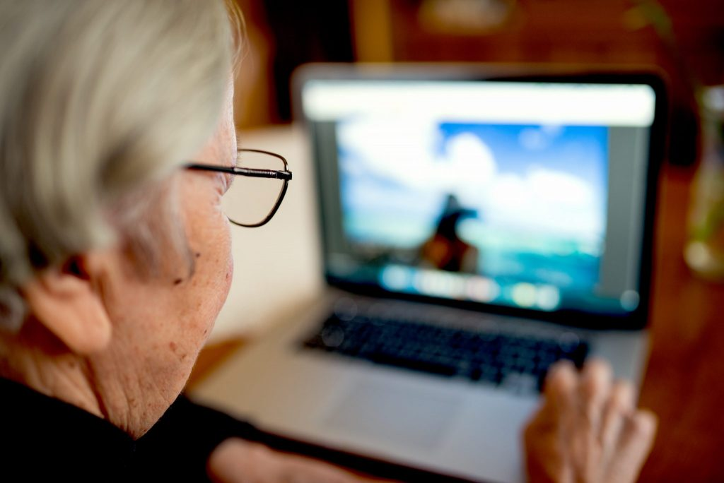 older person browsing social services
