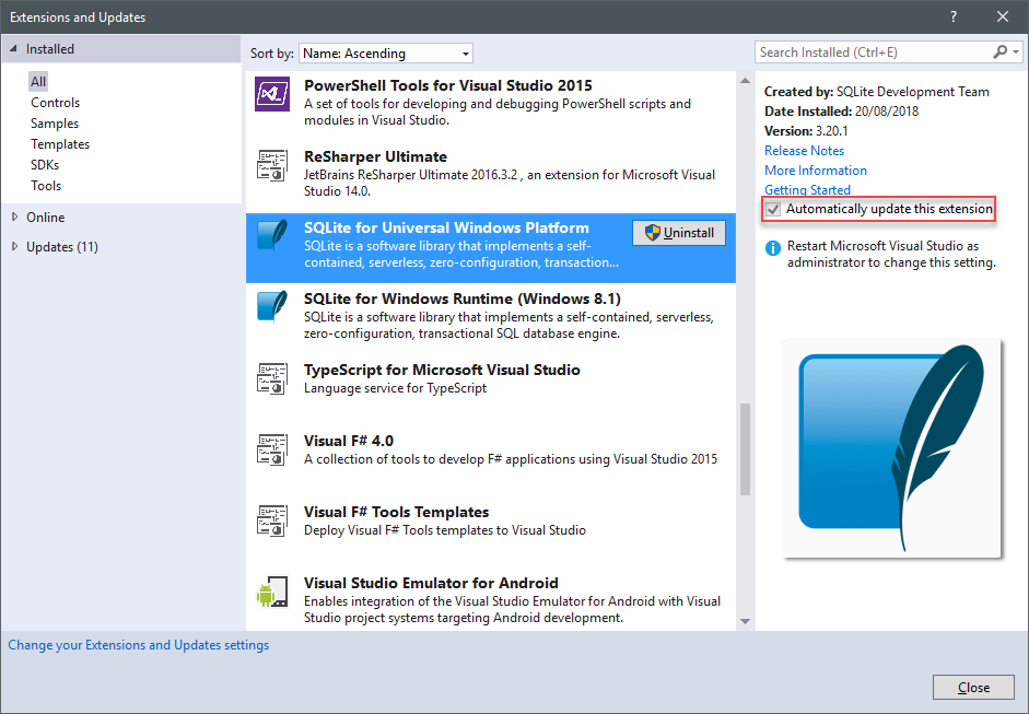Visual Studio extensions and automatically update: always and always