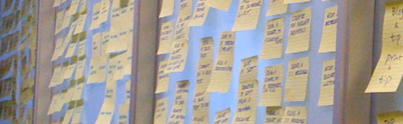 Showing post-it notes spread across a wall